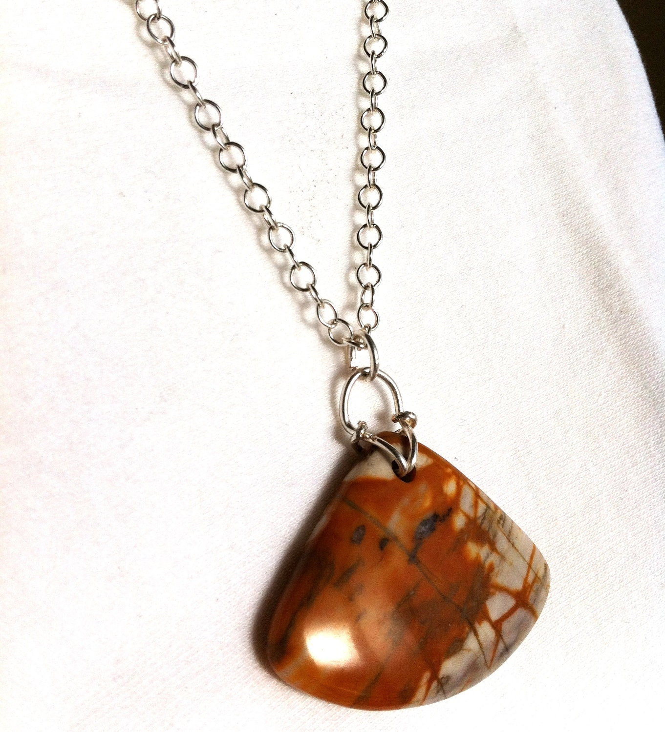 CARAMEL TOPPING - Picasso Jasper Fan Pendant Necklace