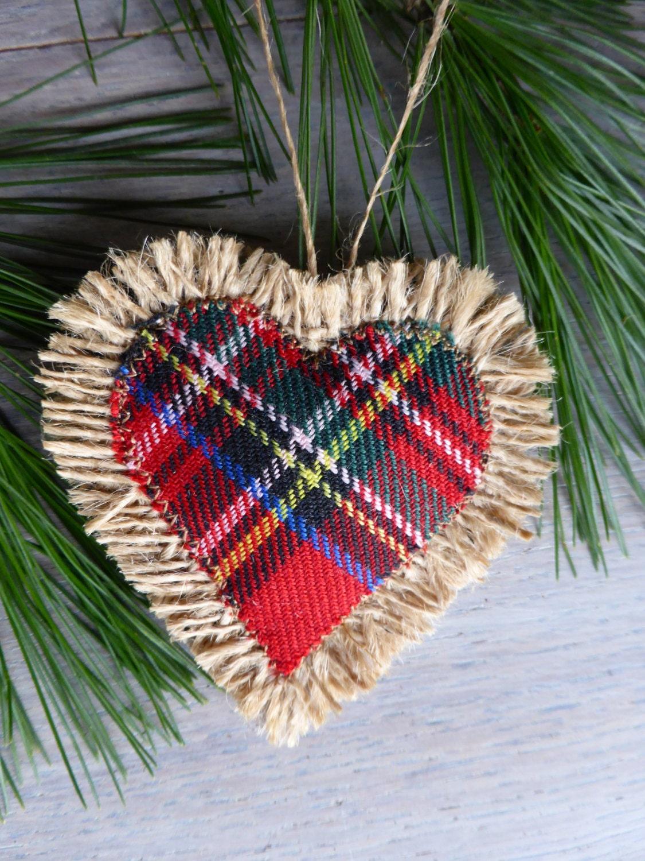 rustic burlap heart gingham -Home Decor -