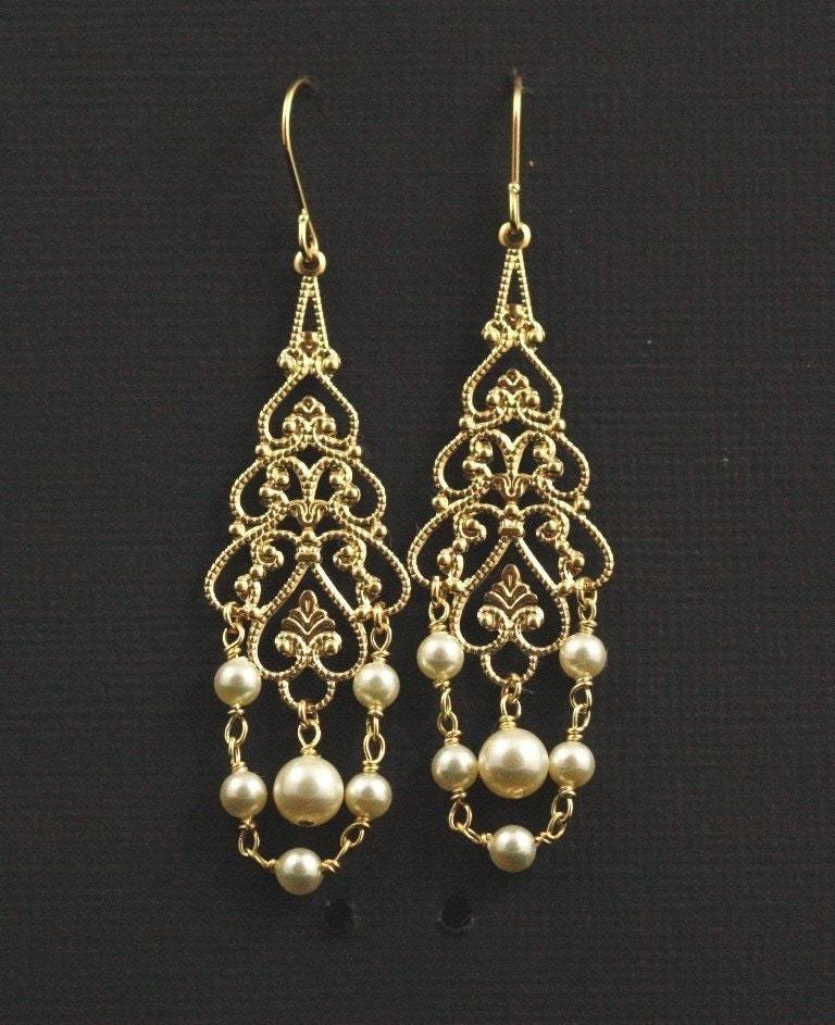 Monarch Bridal Earrings -- Gold Filigree and Creamy Swarovski Crystal Pearls