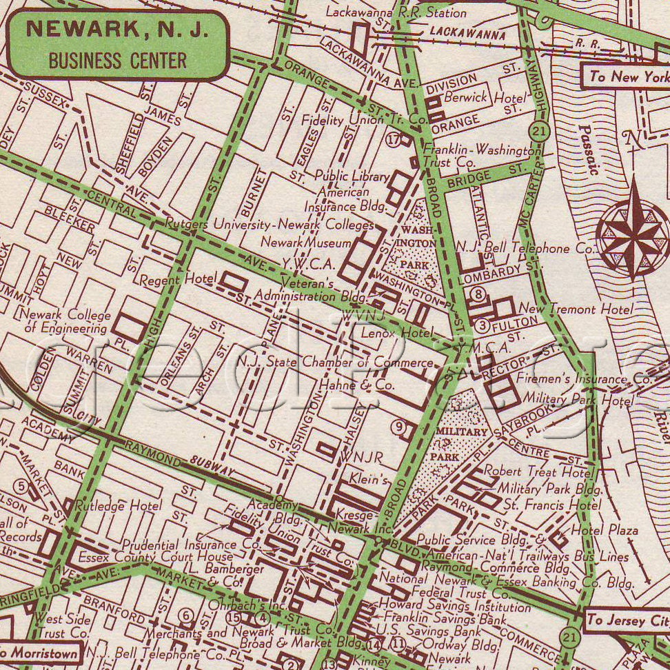 Items Similar To Newark New Jersey Map Print 1951 US City Street Map Vintage 1951 Atlas ...