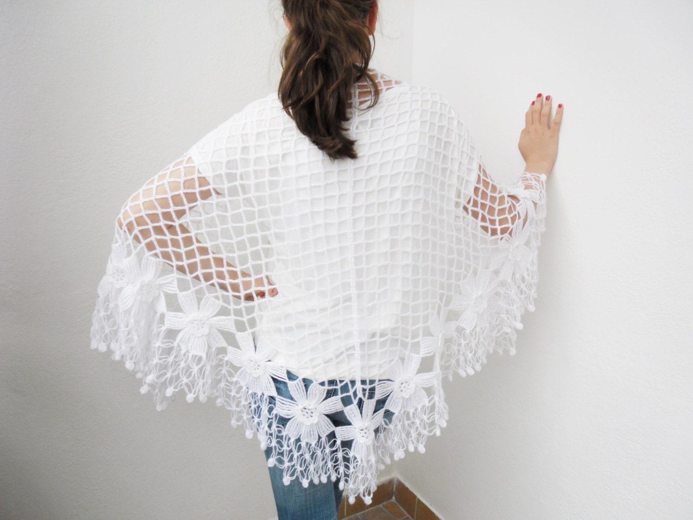 white flower garden hand mohair shawl - Bestknttng