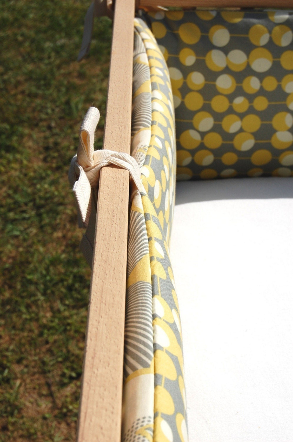 crib set, grey and yellow optic linen
