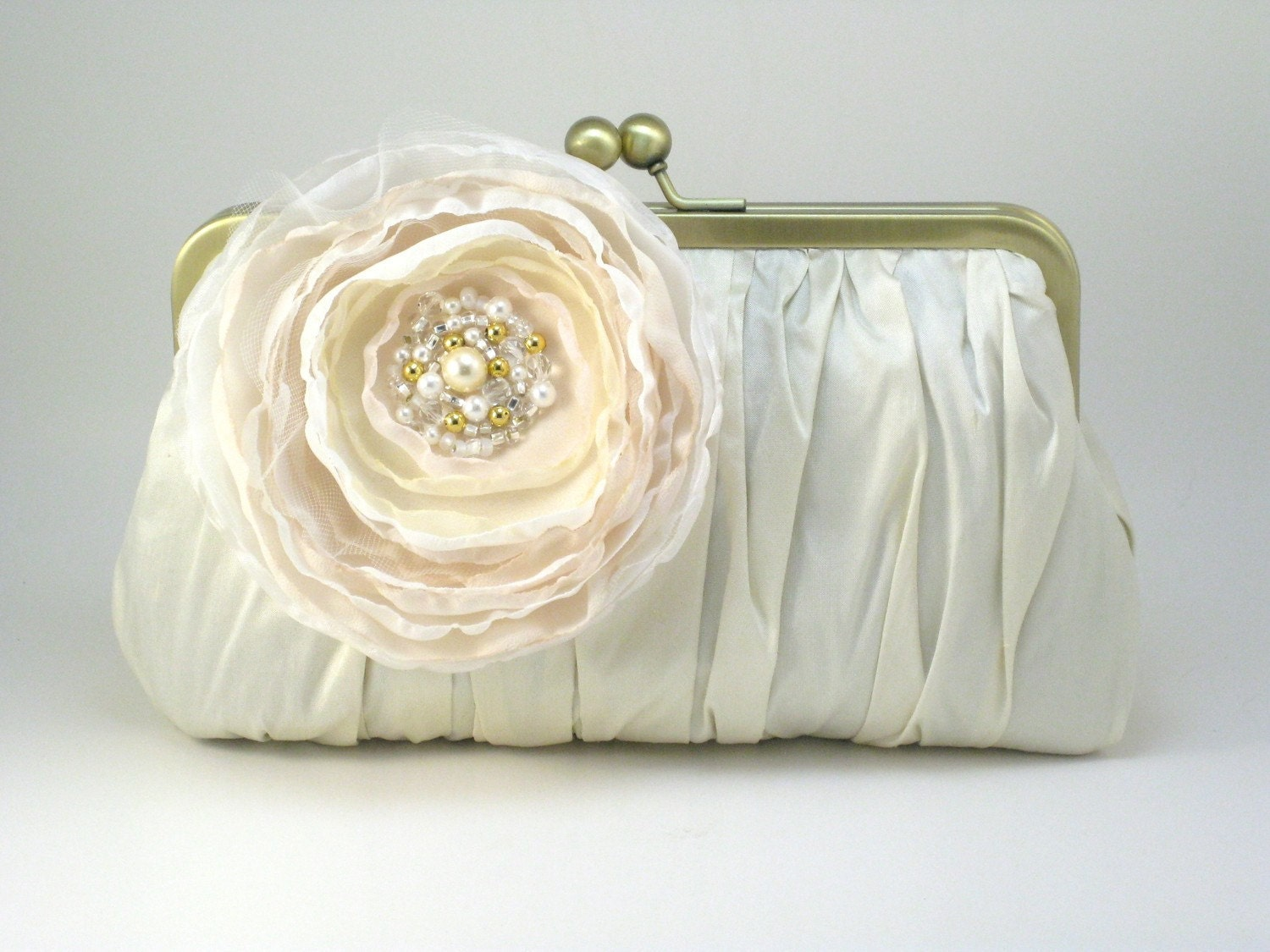 Pretty Pleats Clutch - Soft Cream Gems