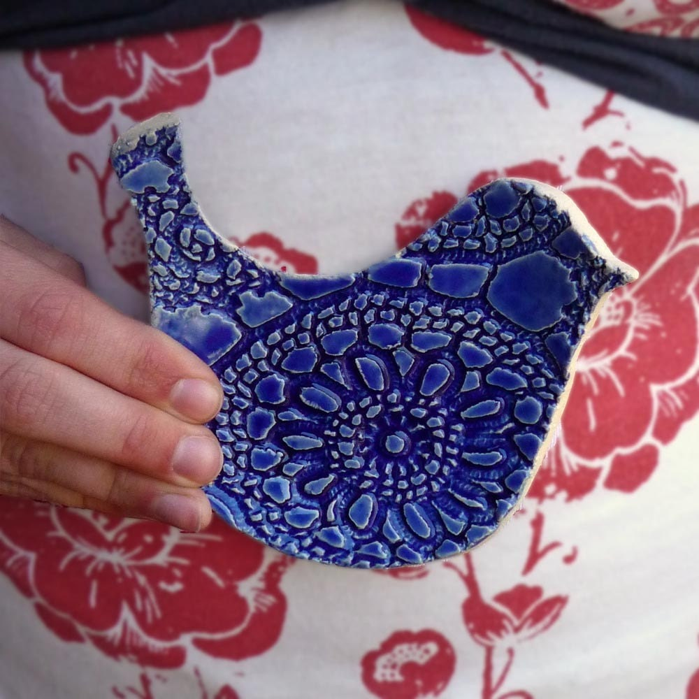 Vintage Lace Dove spoon rest in Marine Blue hand built stoneware pottery