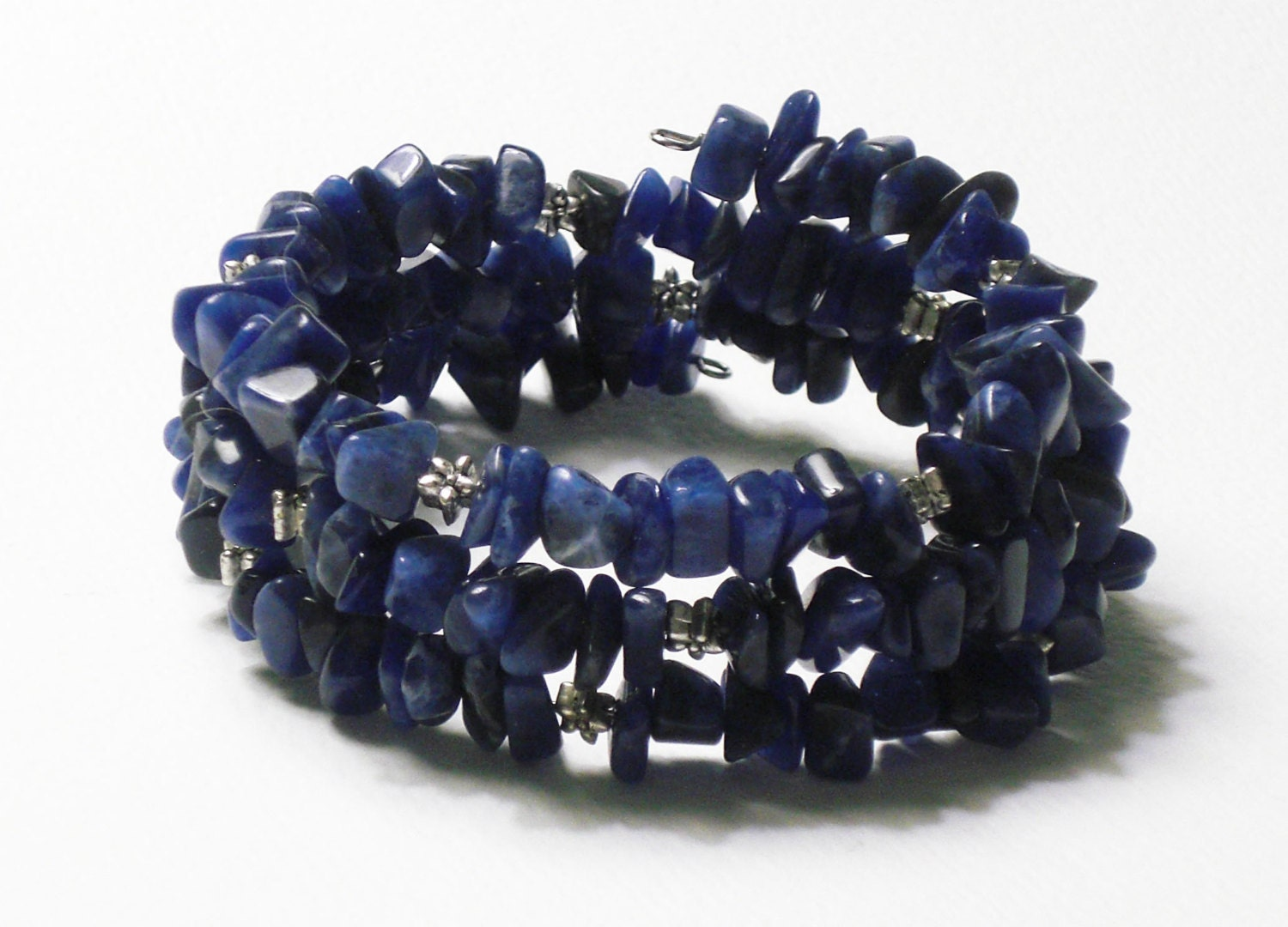 Denim blue sodalite gemstone chip claspless wrap bracelet - Drakestail