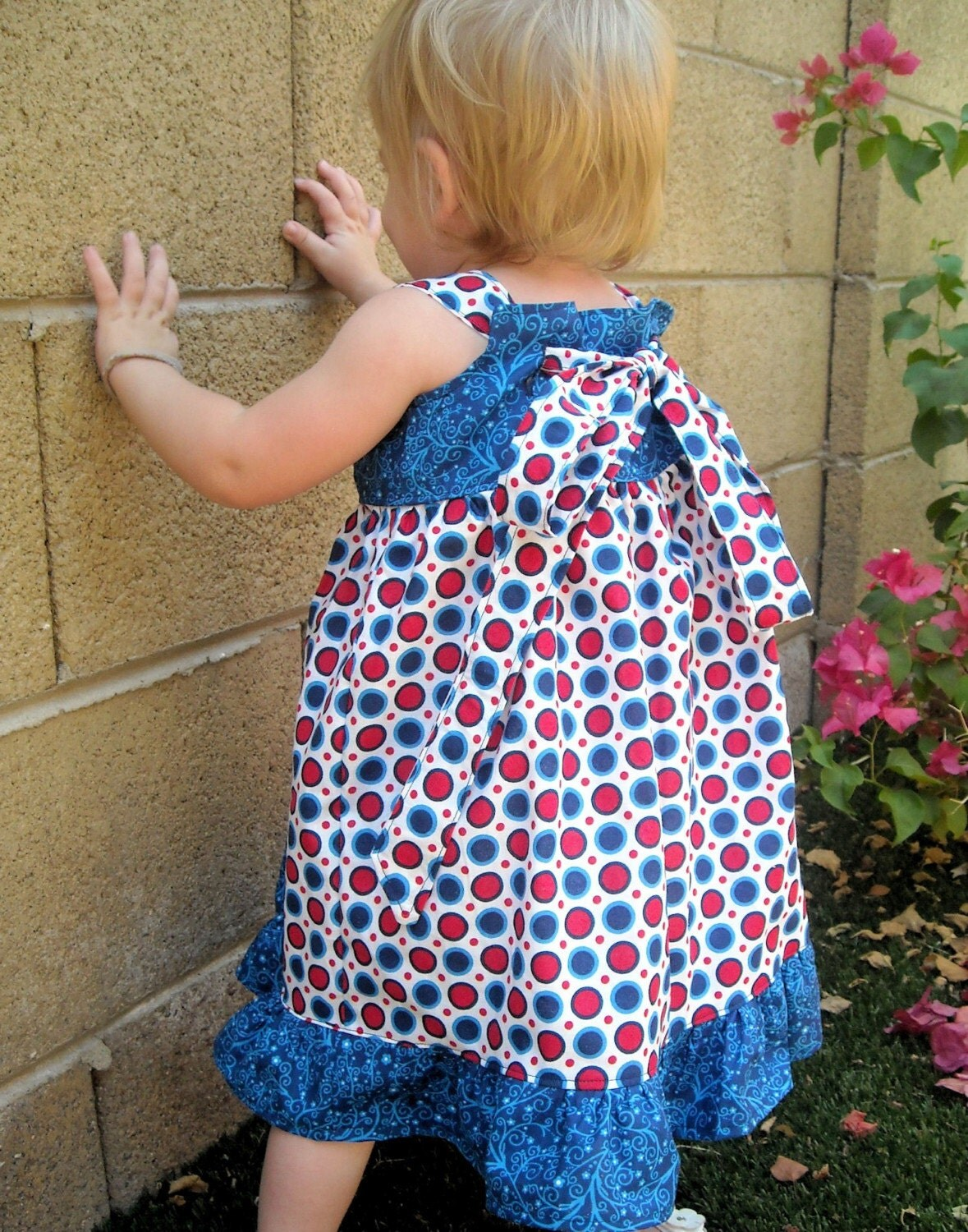 Girls 4th of July or Independence Day Summer Reverse Knot Dress in custom sizes