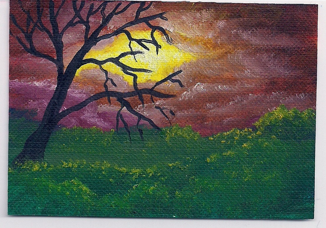 DCH Studio ACEO Painting with naked tree