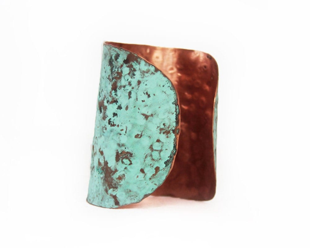 Cuff Chic Copper MINT Boho Patina Beautiful Hammered Hip Unique Aged Vintage Bold Hipster Trendsetter - amywaltz