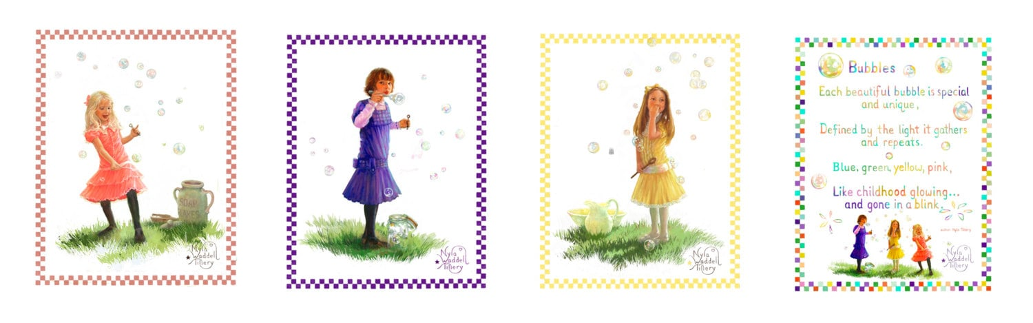 Sale! - PRICED 15% off-Bubbles and Friends set of 4 prints, 3 girls,, poem /how quickly bubbles and childhood disappear - TilleryLane