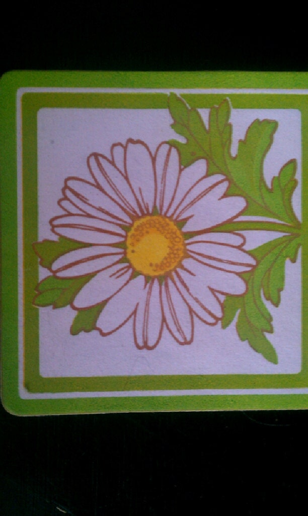 60s - 70s Daisy Wet Slip Decals or Decoupage - set of 10 - Olive green, white, yellow - EmilysCraftys