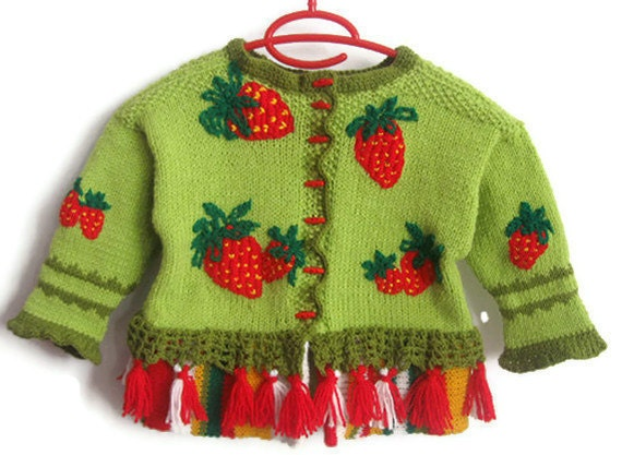 Artistic Wool Kid Cardigan - STRAWBERRY FIELDS/ Children Vest/ Children sweater for 3 to 4 years by Solandia