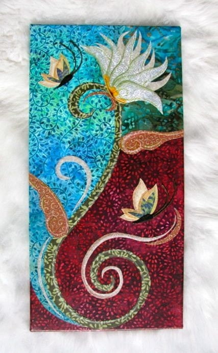 Lily - FABRIC COLLAGE WALL ART - NO FRAME NEEDED