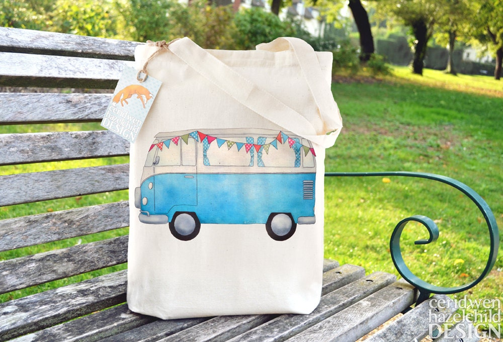 Blue Campervan Tote Bag Reusable Shopper Bag Cotton Tote Ethically Produced Shopping Bag Eco Tote Bag