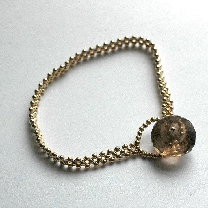 Etsy :: Gilda Bracelet - smoky quartz goldfill and silk from etsy.com