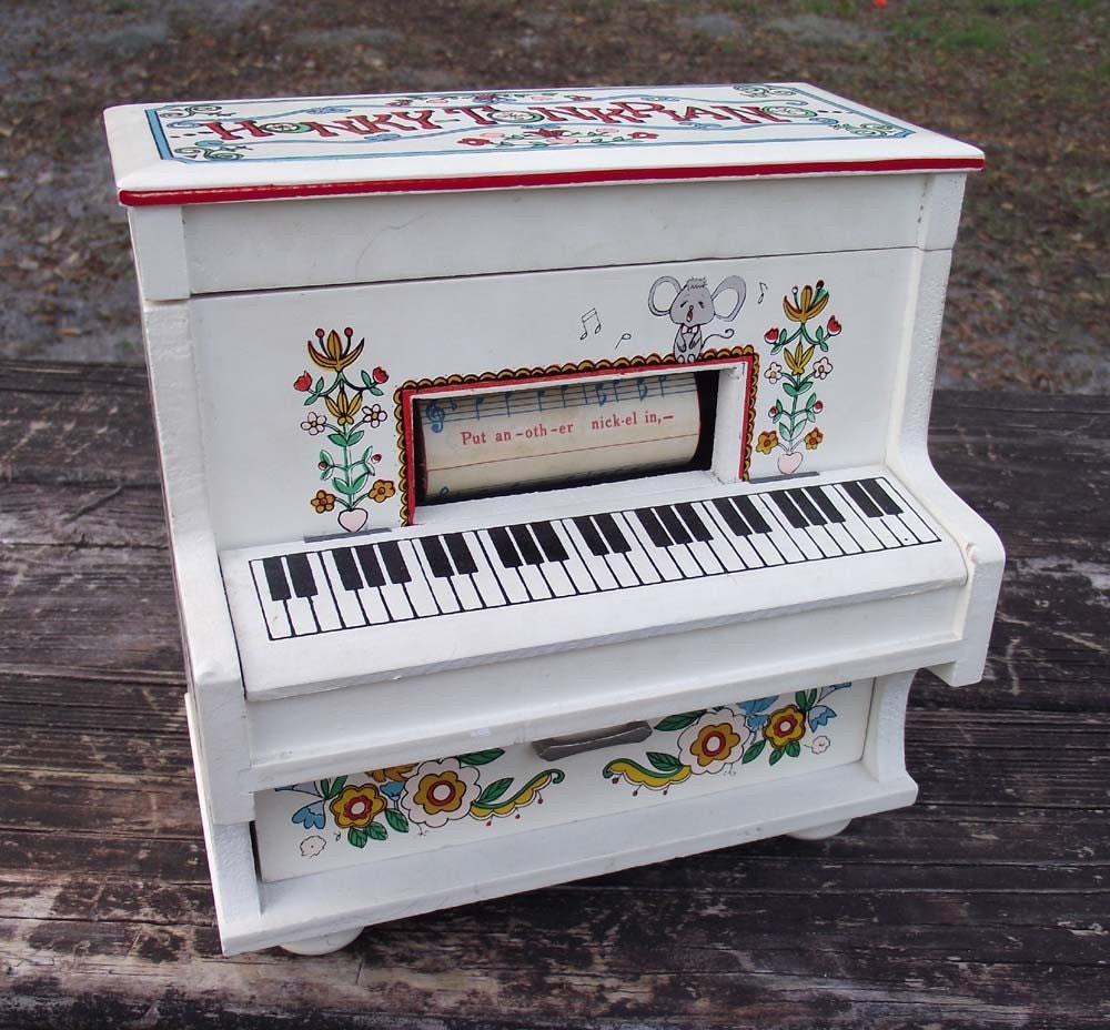 Vintage Toyo Player Piano Music Box with Cute Kids, Electric Guitar and Flowers