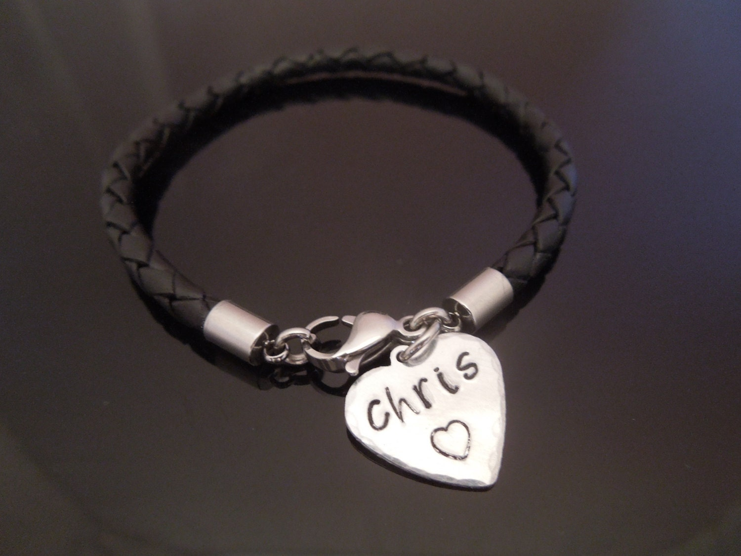 4mm Black Braided Leather and Stainless Steel Bracelet With Aluminium Personalised Heart Charm