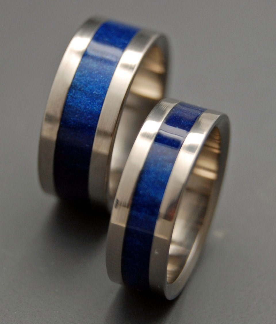 Star Blue Wedding Ring Set by