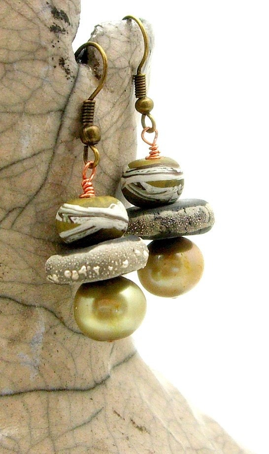 Raku Olive Earrings  Handmade Jewelry  Artisan  Handmade by MAKUstudio