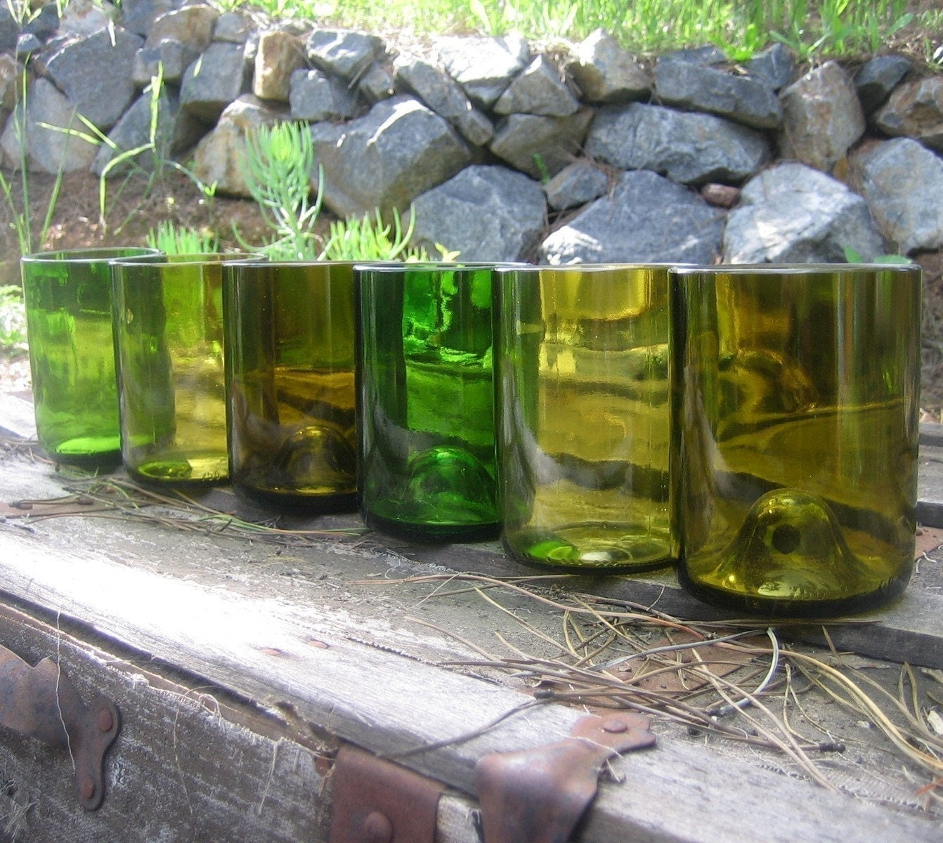 Set of SIX TUMBLERS made from Recycled Wine Bottles