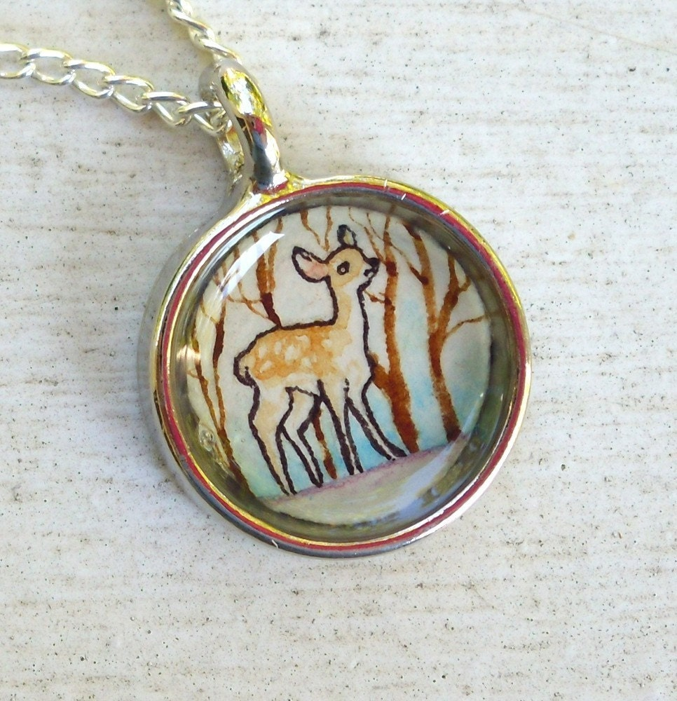 Winter Fawn, hand painted watercolor art necklace