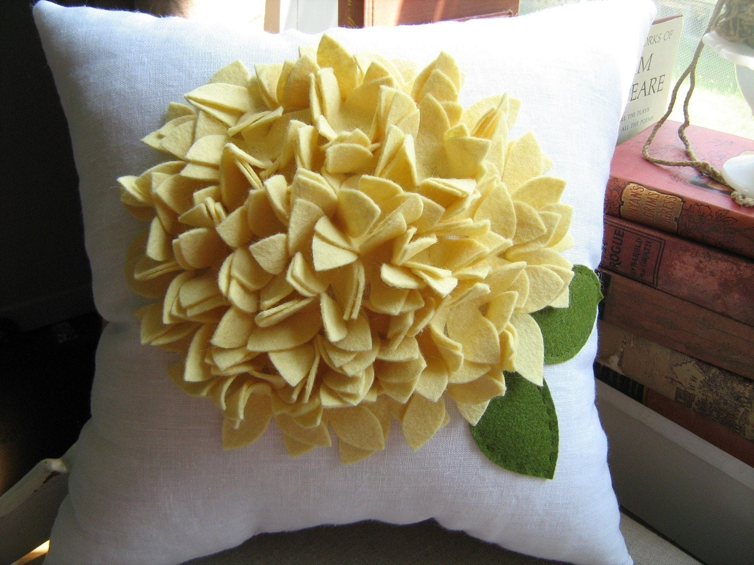 Hydrangea Pillow in White Linen and Light Yellow Bloom