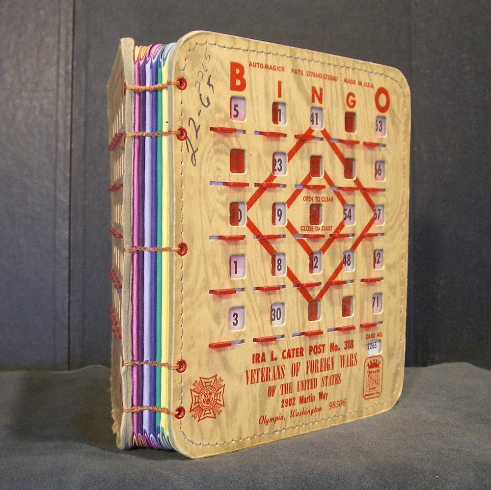 Vintage Bingo King Auto Magic Bingo Book - Veterans of Foreign Wars - Colored Paper