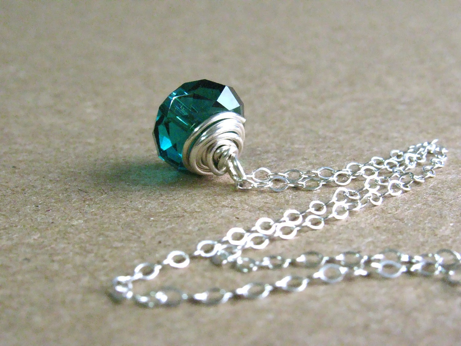 Crystal Necklace - Teal Chinese Crystal on Sterling Silver by Luv Laugh Sparkle