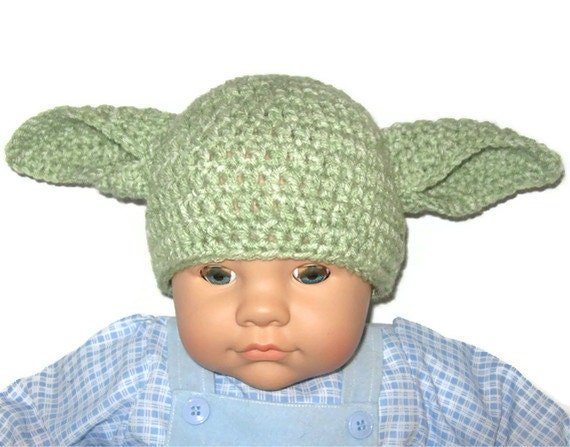 Yoda Crochet Hat NEWBORN Size by ImSewCrafty on Etsy