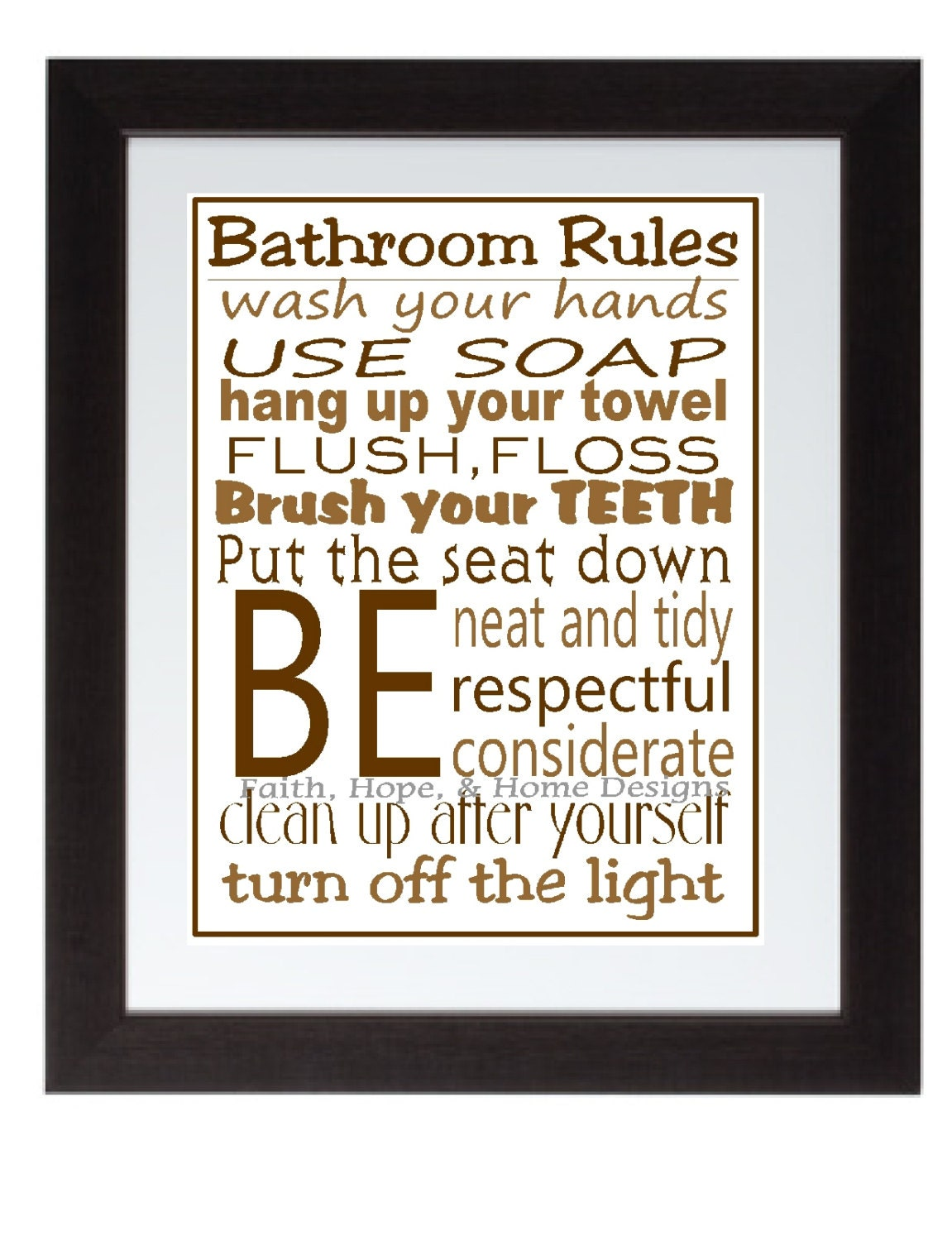 Bathroom Rules Wall Decor : Items similar to bathroom rules wall art poster print