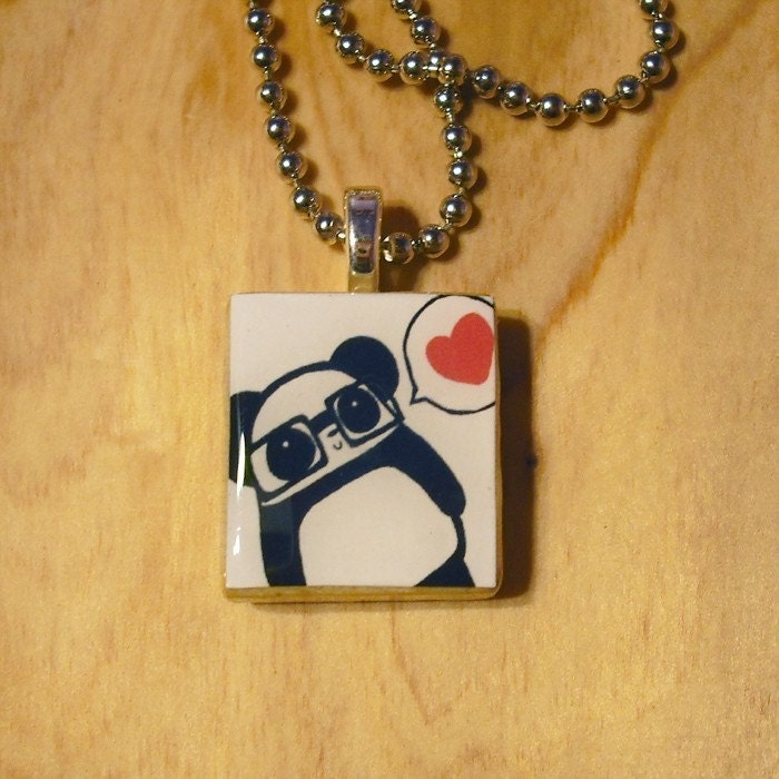 Nerdy Panda Love Scrabble Tile Necklace