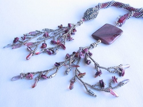 Kashmiri Bead Crocheted Rope Lariat Bead Art Originals BAO Item of the Week