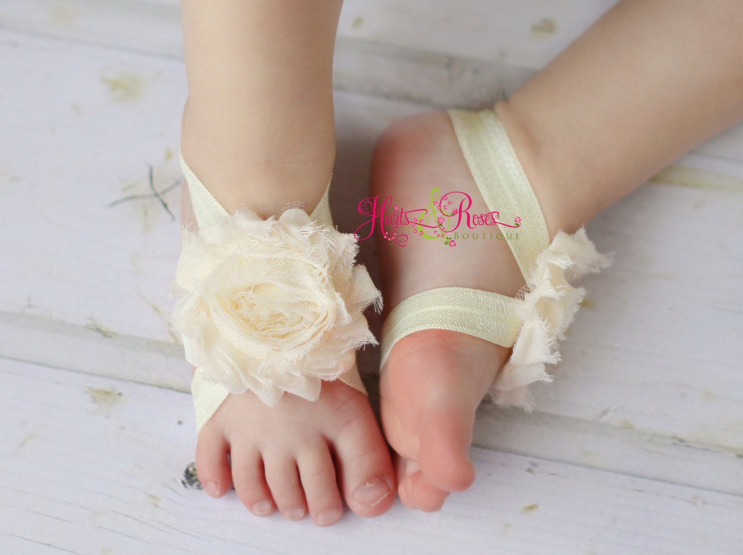 Ivory Baby Shoes-Baby Barefoot Sandals-Baby by HartsandRoses