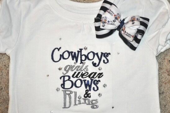 Items similar to dallas cowboys girls custom bling fan for Custom made shirts dallas