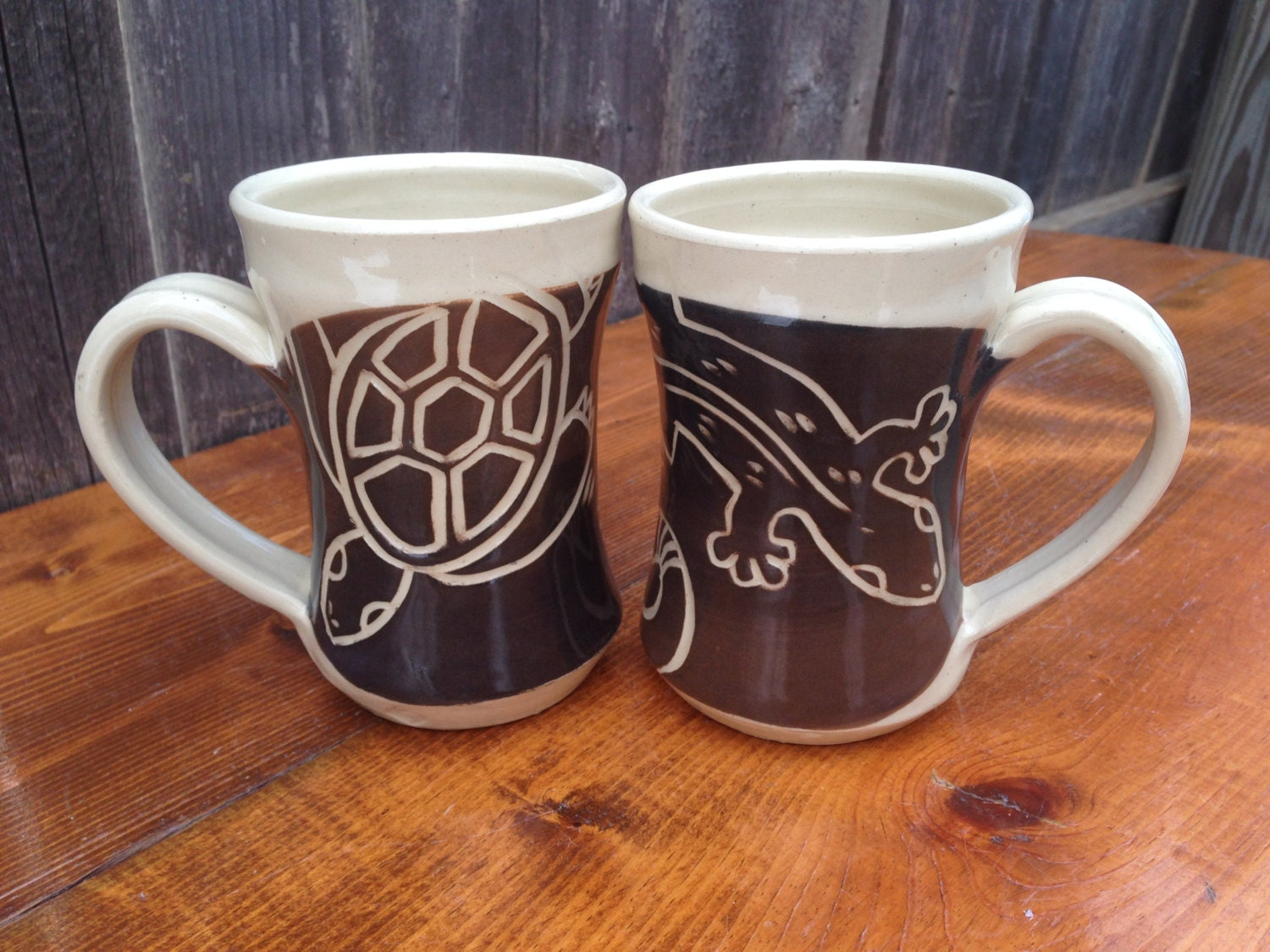 Turtle and Salamander Mugs / Set of 2 handmade pottery mugs in brown and black