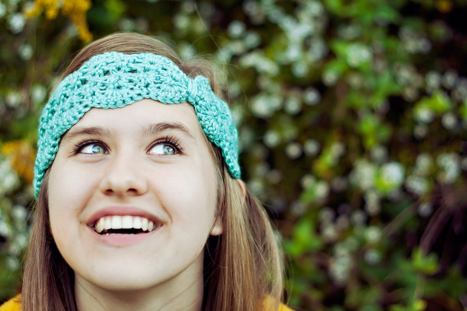 Scallops and Lace Crochet Turban Headband in turquoise