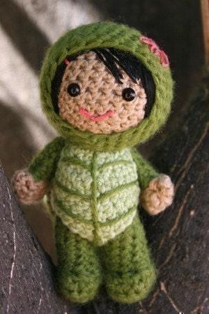 Crochet Pattern- Lucy in a turtle costume amigurumi doll