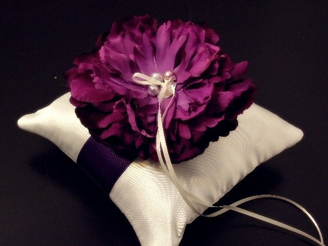 Custom Wedding ring bearer pillow flower with Swarovski Pearls and Crystals