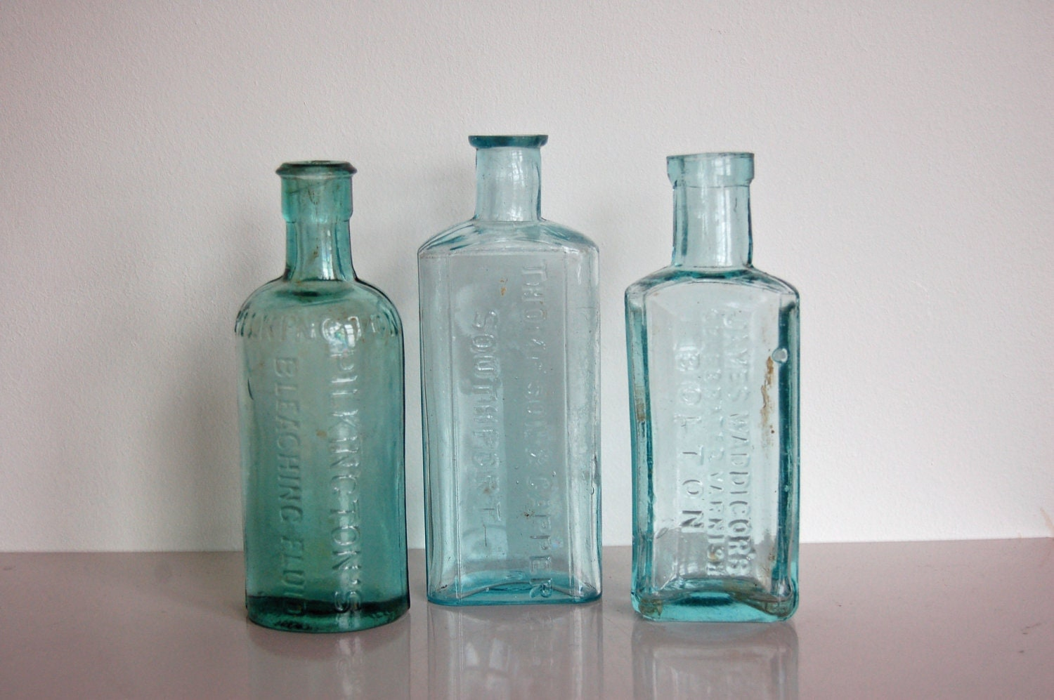 Old fashioned glass bottles vintage antique aqua by goodnorth for Uses for old glass bottles