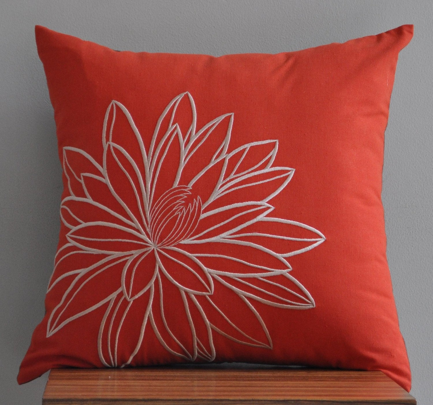 "Orange Lotus -Throw Pillow Cover -18"" x 18"" Decorative Pillow Cover - Red Orange/Vermillion Linen with Beige Lotus Embroidery"