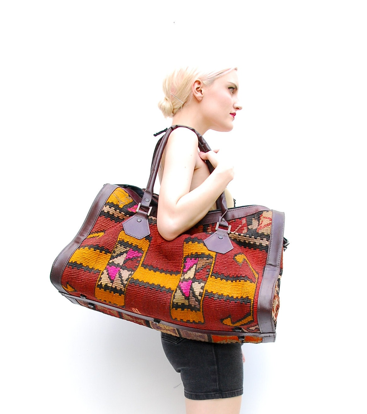 Vintage Turkish Kilim Weekender Bag - Navajo Weekender - Oversized Leather Bag - Woven Southwestern Tapestry Bag