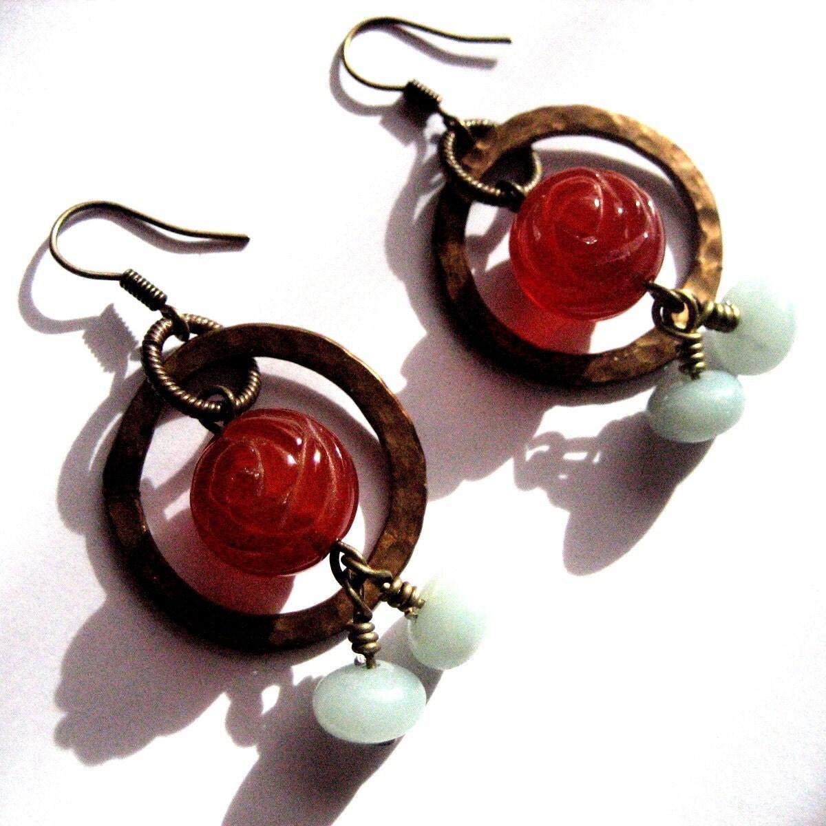 winter rose earrings