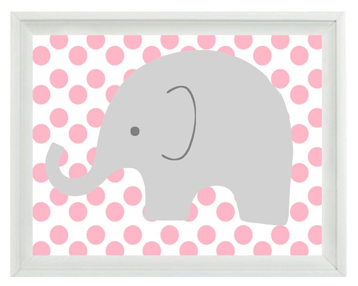 elephant nursery wall art print pink gray decor by rizzleandrugee. Black Bedroom Furniture Sets. Home Design Ideas