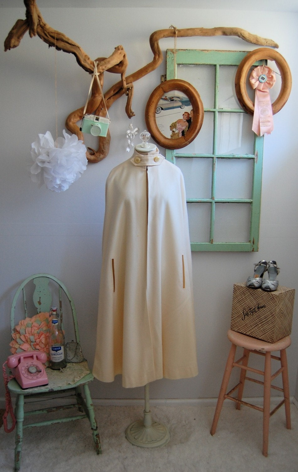 The Sally- Vintage 1960s Mad Men Cream Wool Cape and Skirt Set