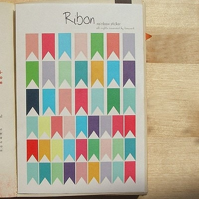 Rainbow Deco Sticker - 2 sheets of ribbon pattern