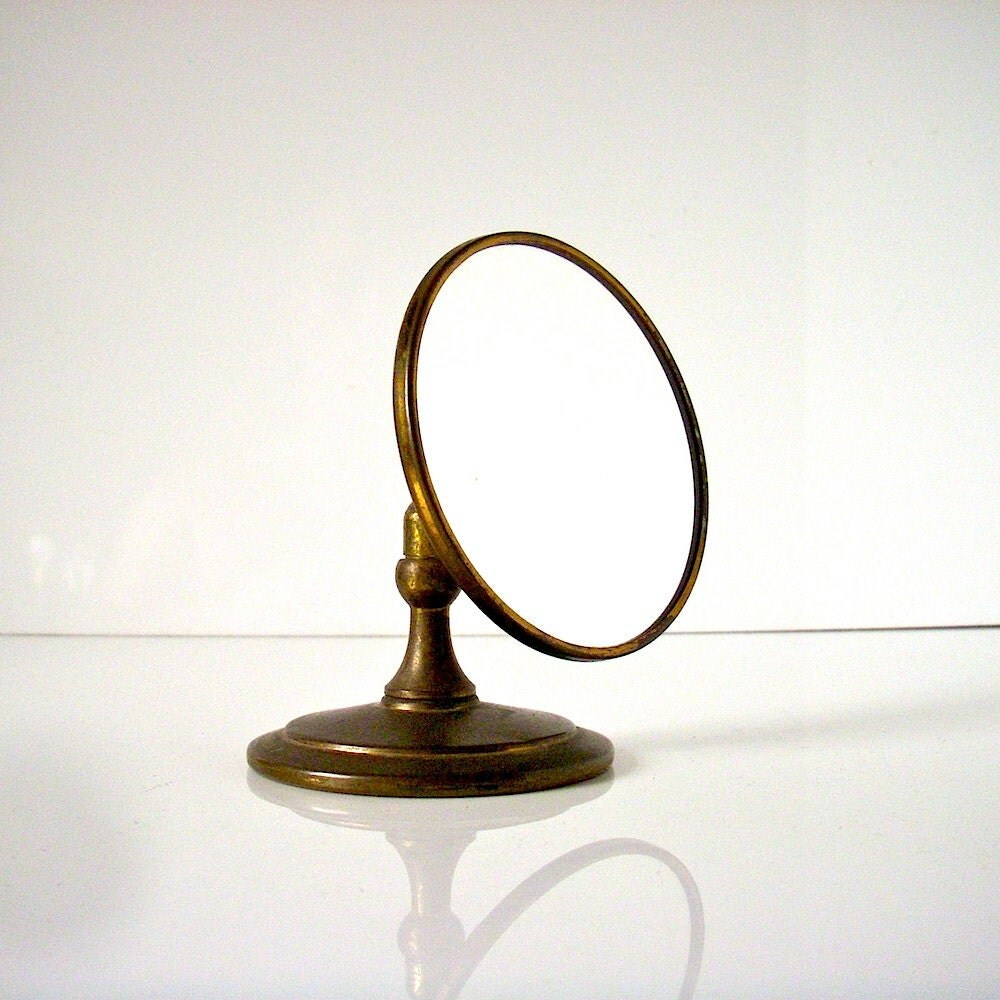 Antique vanity mirror small round makeup by coolvintagefinds for Antique vanity with round mirror