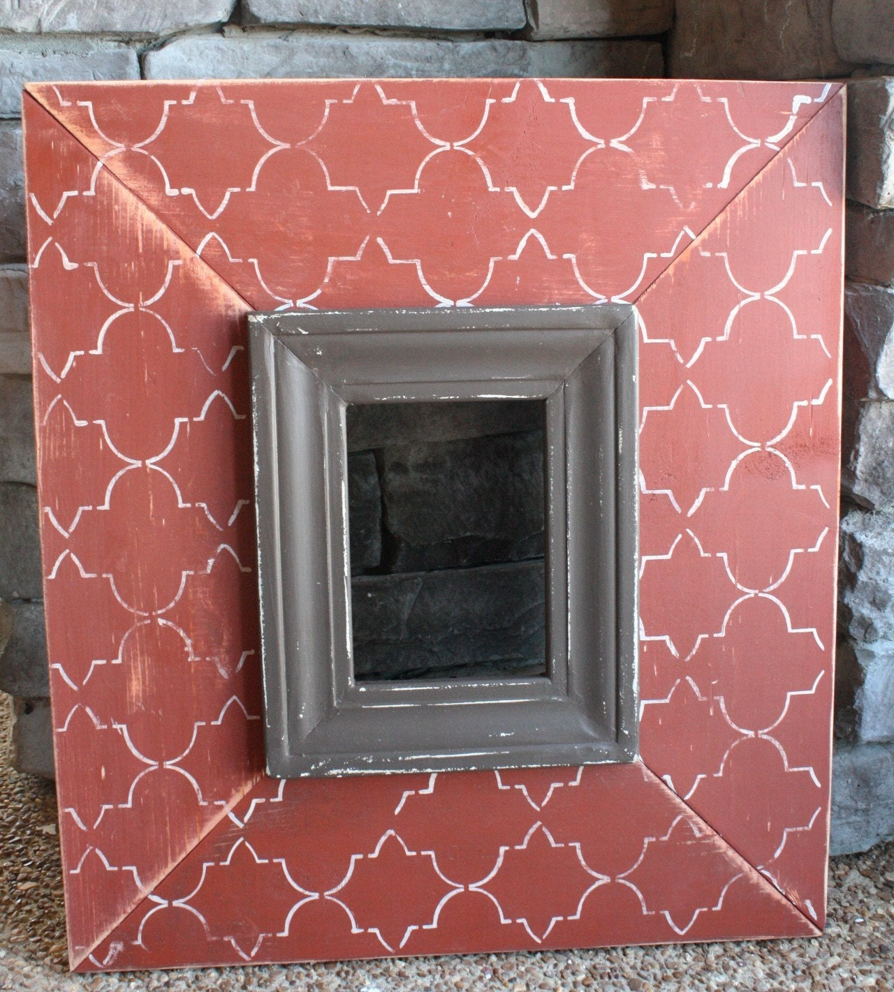 IN STOCK - Guaranteed Christmas Delivery - 5x7 Distressed Picture Frame in Rust and Brown with Cream Trellis - OR You Choose Your Colors and Size
