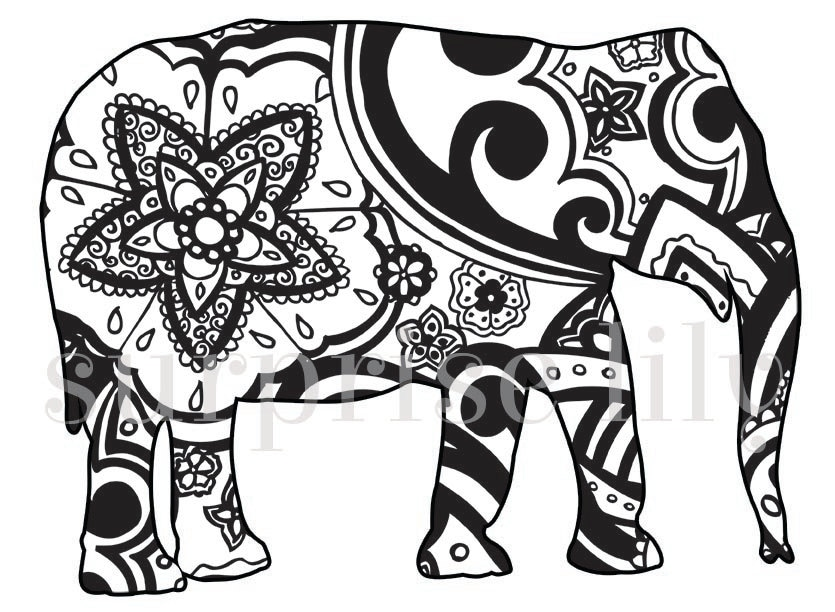 Mehndi Elephant Coloring Pages : Items similar to animal and pets floral coloring page book
