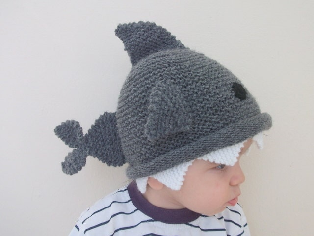 Handmade shark hat -Knitting Baby  Hat  - for Baby or Toddler-Size 6-12 months