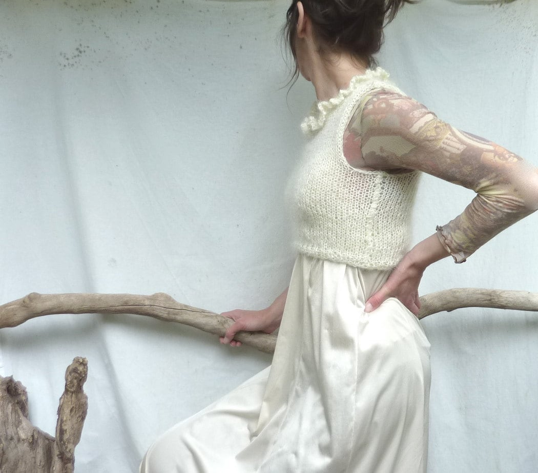 Little Dove Bodice, hand knitted crop top in creamy white Scottish mohair - InnerWild