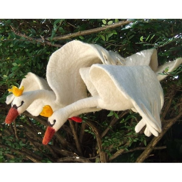 Swan pair wet and needle felted wall hanging by geklara on Etsy